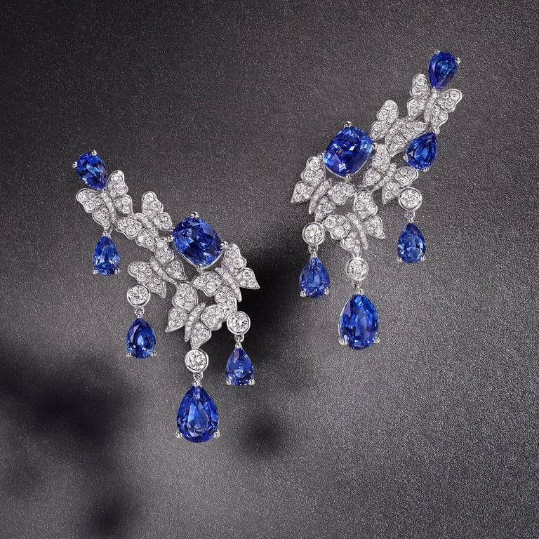 Blue Sapphire Diamond White Gold Dancing Butterfly Earrings 2