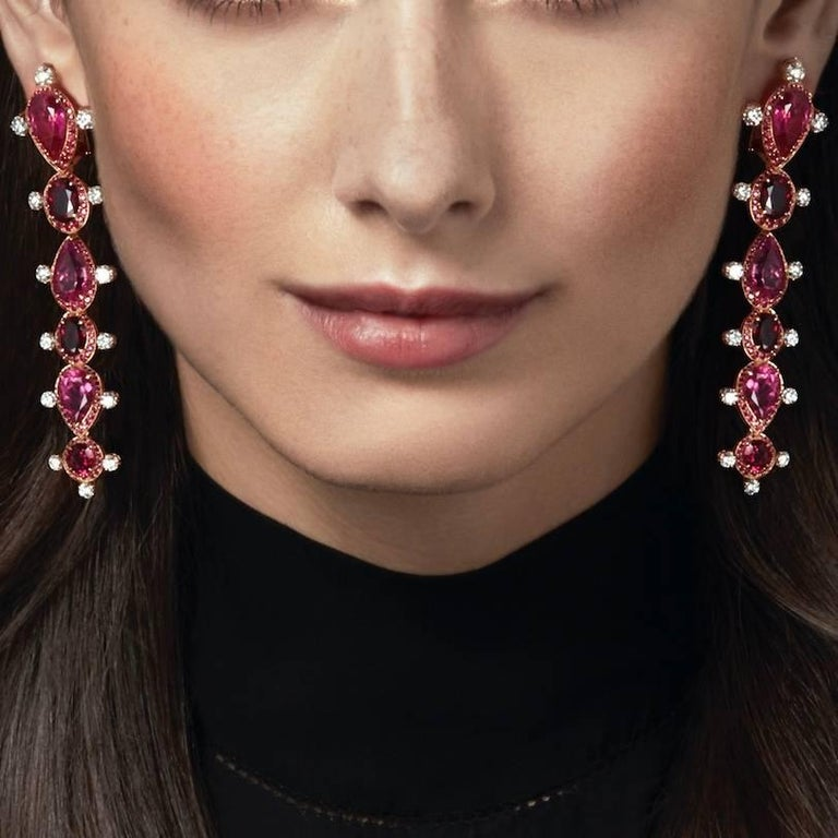 Rose Gold White Diamond Mozambican Ruby and Rubellite Dangle Stilettos Earrings In New Condition For Sale In London, GB