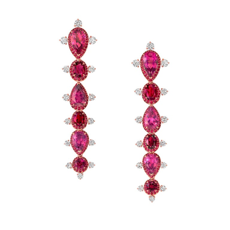 Modern Rose Gold White Diamond Mozambican Ruby and Rubellite Dangle Stilettos Earrings For Sale