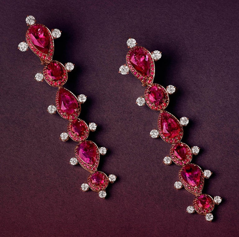 Rose Gold White Diamond Mozambican Ruby and Rubellite Dangle Stilettos Earrings For Sale 1