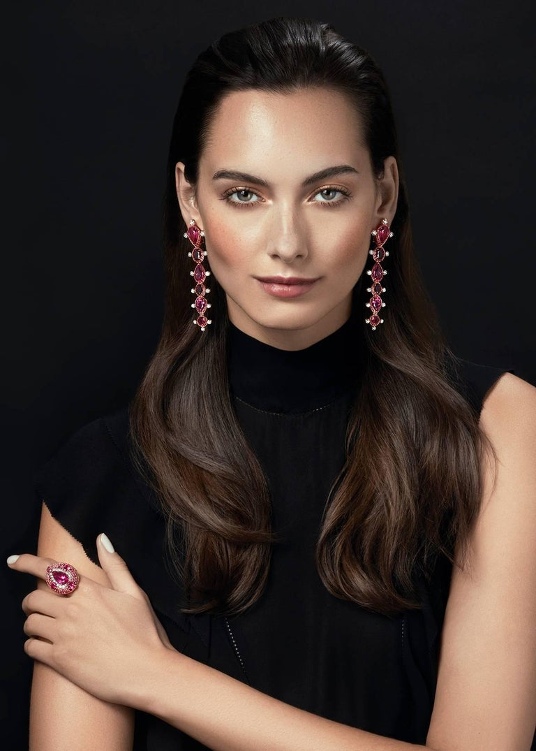 Oval Cut Rose Gold White Diamond Mozambican Ruby and Rubellite Dangle Stilettos Earrings For Sale