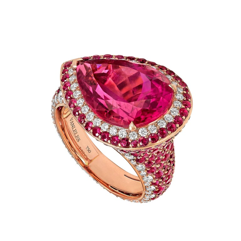 Rose Gold, White Diamonds, Mozambican Rubies and Rubellites, Cocktail Ring