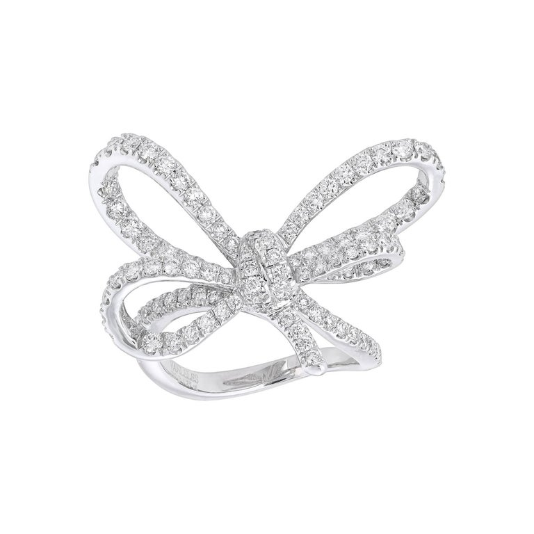 White Gold and Diamonds Bow Cocktail Ring