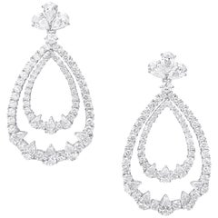 White Diamonds, White Gold, Classic, Bridal Dangle Earrings