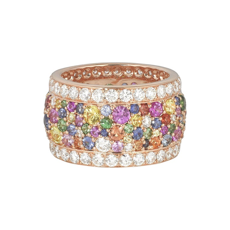 Contemporary Rose Gold and Diamond Multicolored Sapphires Earrings and Band Ring Suite For Sale