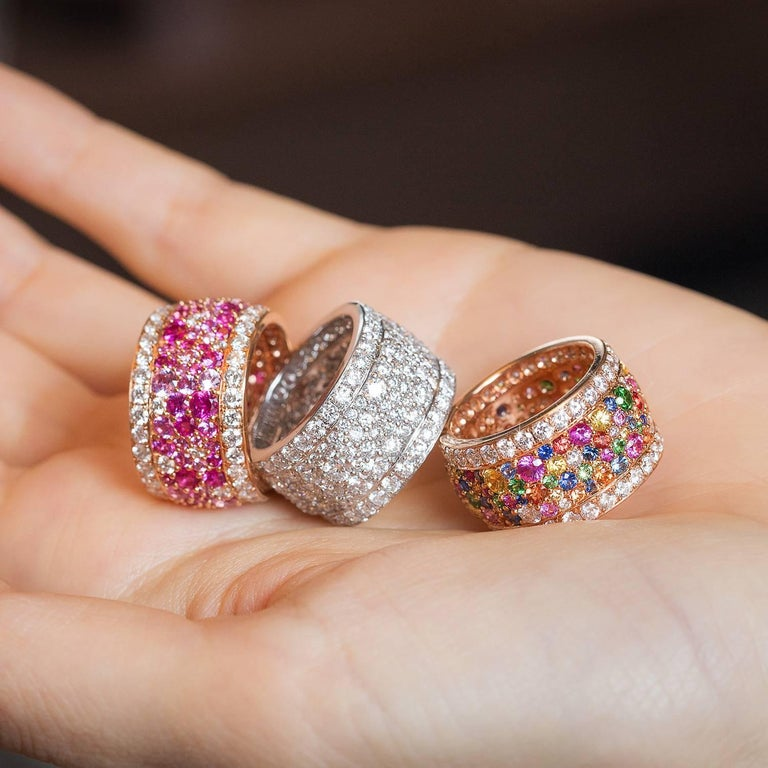 Women's Rose Gold and Diamond Multicolored Sapphires Earrings and Band Ring Suite For Sale