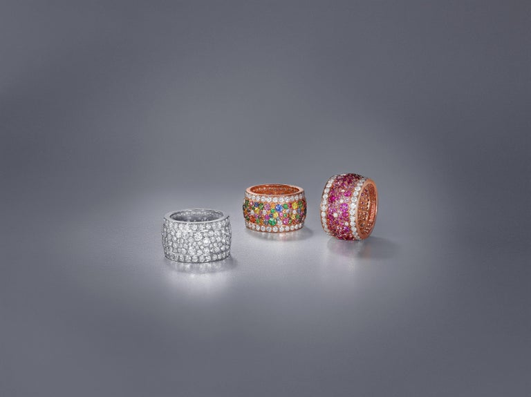 Rose Gold and Diamond Multicolored Sapphires Earrings and Band Ring Suite For Sale 5