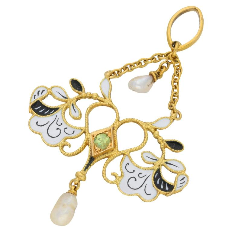 1890s Carlo Giuliano Art Nouveau Garnet Enamel Seed Pearl Gold Pendant