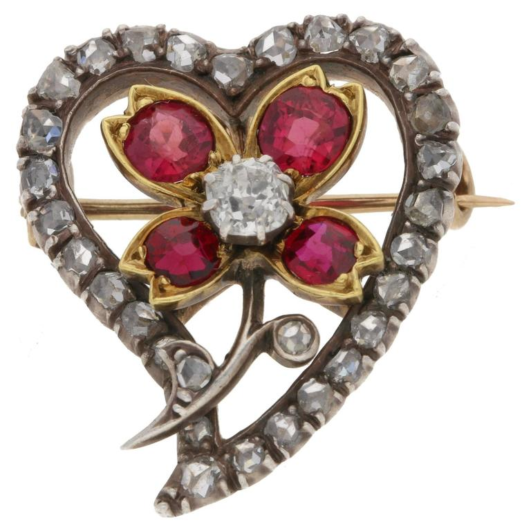 Victorian Diamond Ruby Gold Witches Heart Pendant