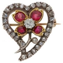 Victorian Diamond & Ruby Heart Pendant/Brooch