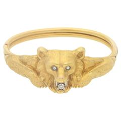 1900s Diamond Gold Hinged Bear Bangle