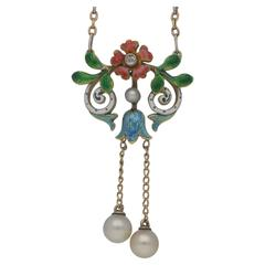 Edwardian Enamel Pearl Diamond Necklace