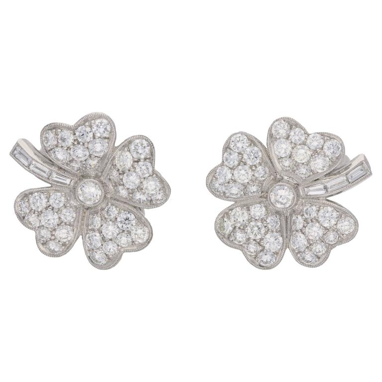 Diamond Platinum Four Leaf Clover Earrings  1