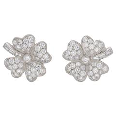 Diamond Platinum Four Leaf Clover Earrings