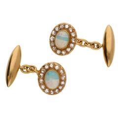 Victorian Opal and Diamond Cluster Cufflinks