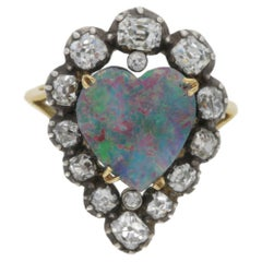 Victorian Opal and Diamond Heart Cluster Cocktail Engagement Ring