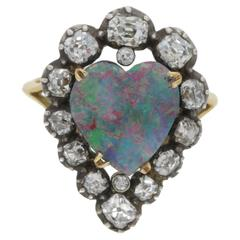 Victorian Heart Opal and Diamond Gold Cluster Ring