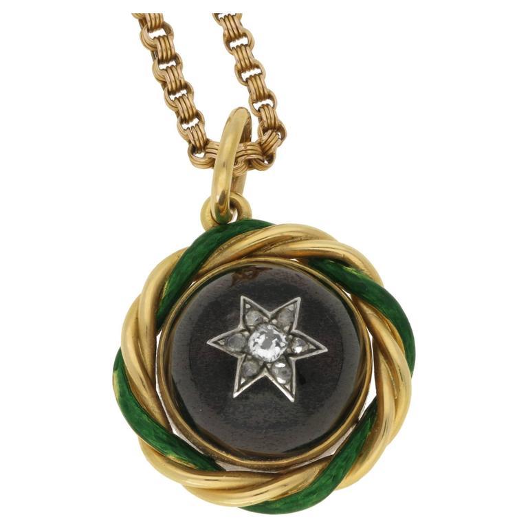 John Brogden 1870s Garnet and Diamond Gold Pendant