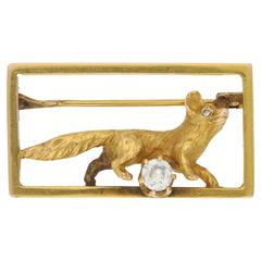 1870s Victorian Gold and Diamond Fox Brooch