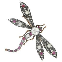 1890s Victorian Rubies Diamonds Gold Dragonfly Brooch