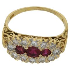 1970s Ruby and Diamond Set Boat Head Ring