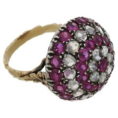 Georgian Style Ruby and Diamond Gold Bombe Ring