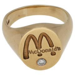 McDonald's Gold Signet Ring with Diamond