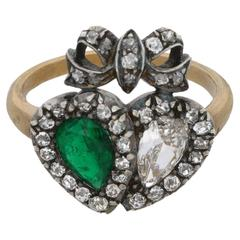 Edwardian Columbian Emerald and Diamond Gold Heart Ring