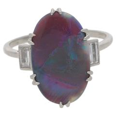 1930s Art Deco Opal Diamond Platinum Ring