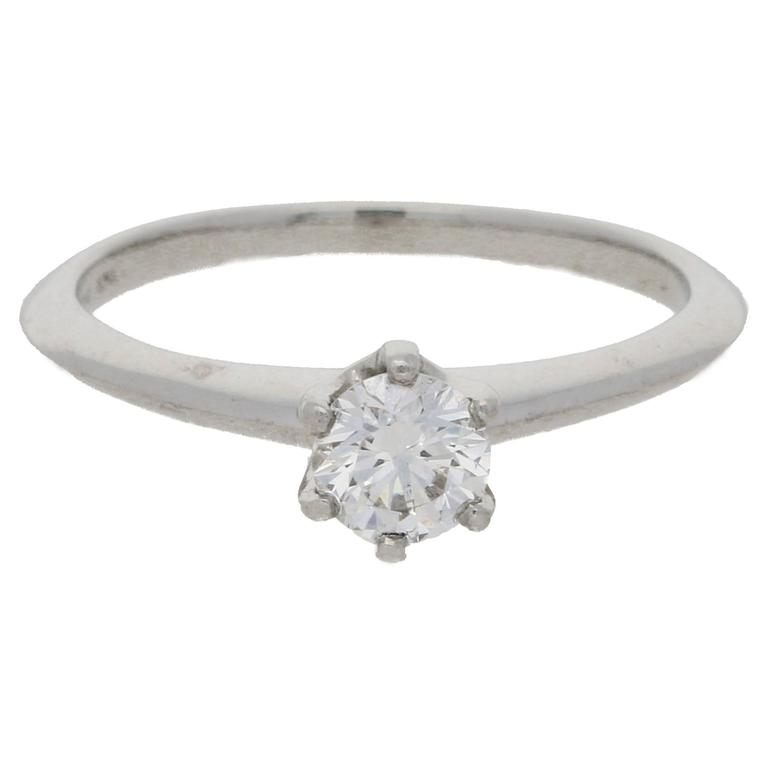Tiffany & Co. 0.44 Carat Single Stone Diamond Platinum Ring For Sale