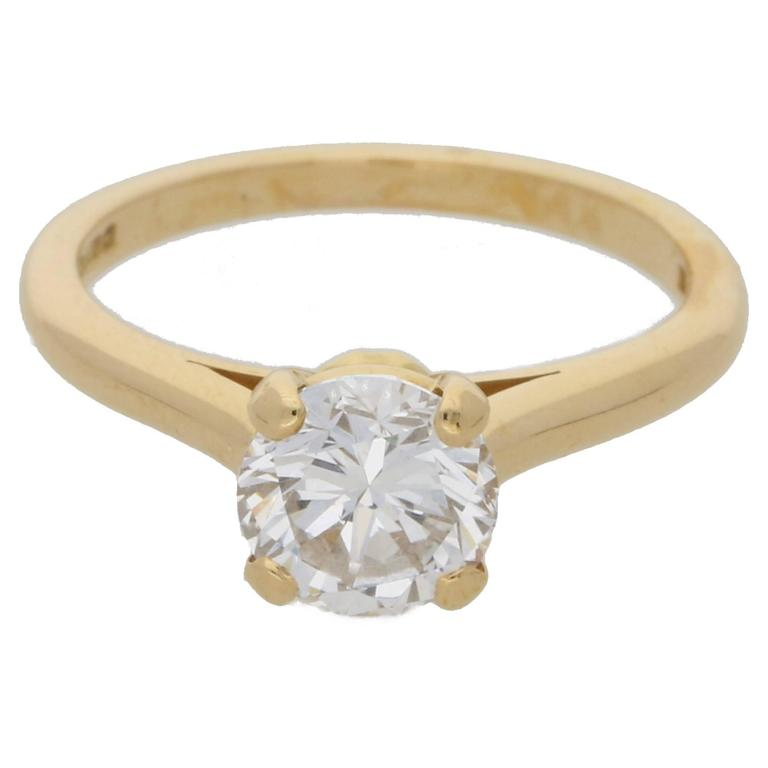 Cartier 1.25 Carat Single Stone Diamond Gold Ring at 1stdibs