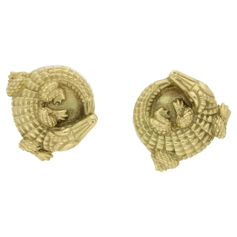 1980s Kieselstein-Cord Gold Alligator Clip Earrings For Sale
