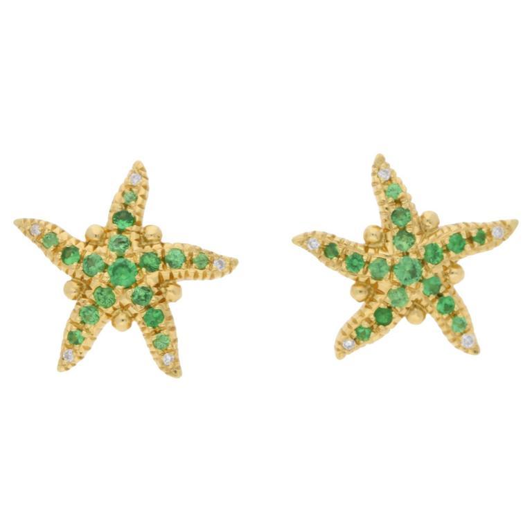 Temple St Clair Tsavorite Diamond Gold Starfish Earrings For