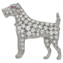 1900s Diamond Platinum Fox Terrier Brooch