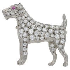 1900s Diamond Platinum Fox Terrier Brooch