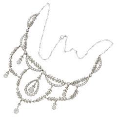 1900s Diamond Platinum Swag Necklace