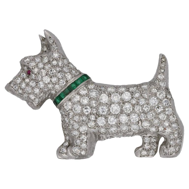 Diamond Emerald White Gold Scottie Dog Brooch For Sale At 1stdibs