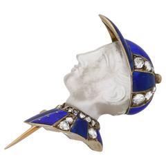 1890s Antique Enamel Diamond Gold Fred Archer Brooch