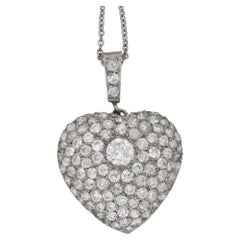 Edwardian Diamond Heart Pendant set in Platinum, with Chain