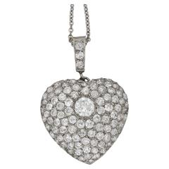 1900s Diamond Set Platinum Heart Pendant on Chain