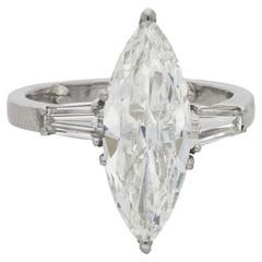 3.26 Carat Marquise Diamond Platinum Ring