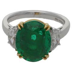 4.8 Carat Emerald Diamond Platinum Ring