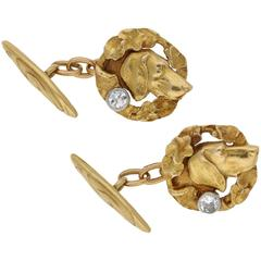 1940s Diamond Gold Dog Cufflinks