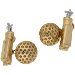 9 Karat Gold Vintage Golf Bag Cufflinks