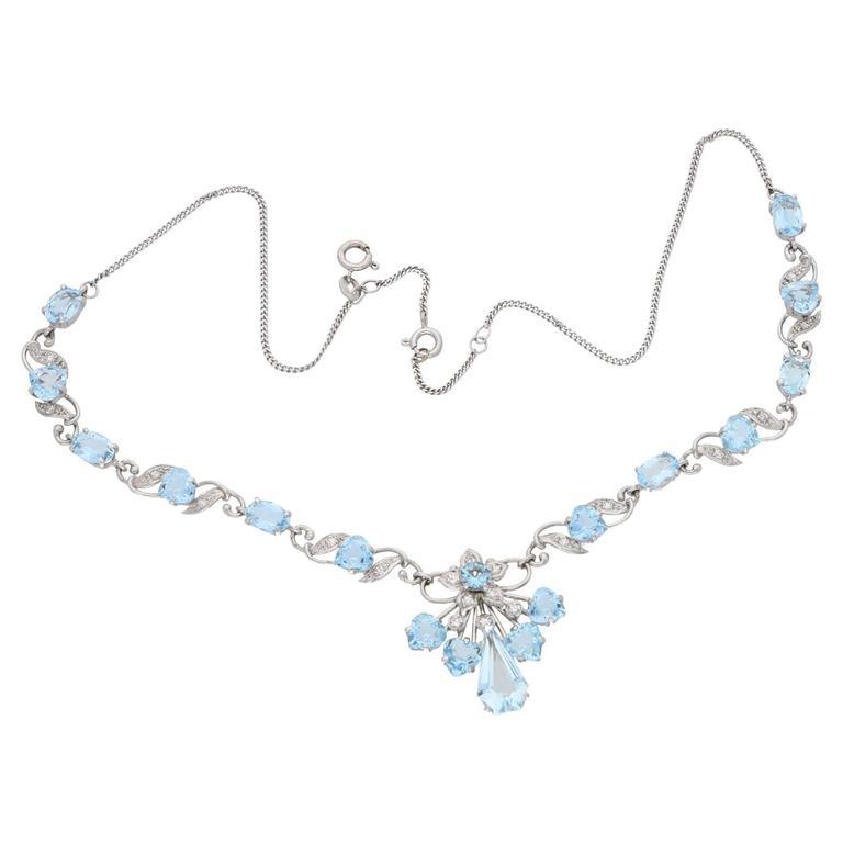 Aquamarine Diamond White Gold Necklace