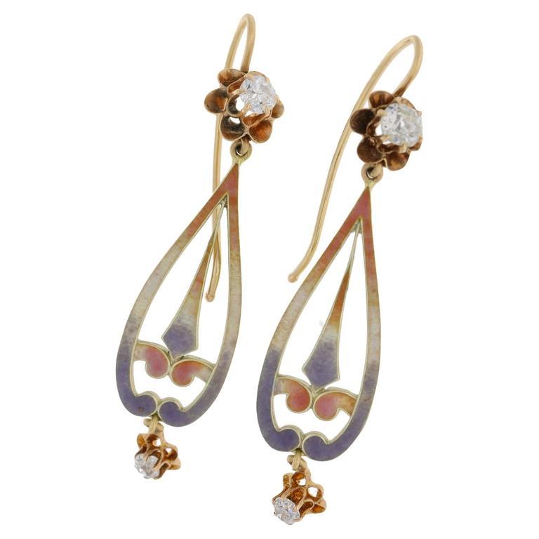 1880s Enamel and Diamond Gold Drop Earrings