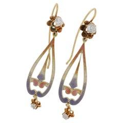 Diamond and Pink Enamel Victorian Drop Earrings in Gold