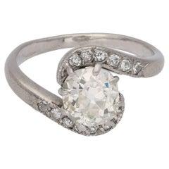 Art Deco Diamond Twist Engagement Ring Set in Platinum