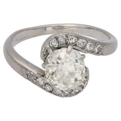 1920s Art Deco Diamond Twist Engagement Ring in Platinum