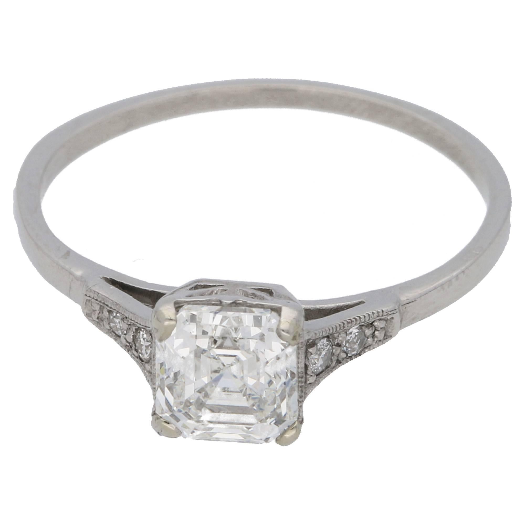 in diamond rings caymancode jewellery asscher engagement setting cut six stone classic platinum ctw